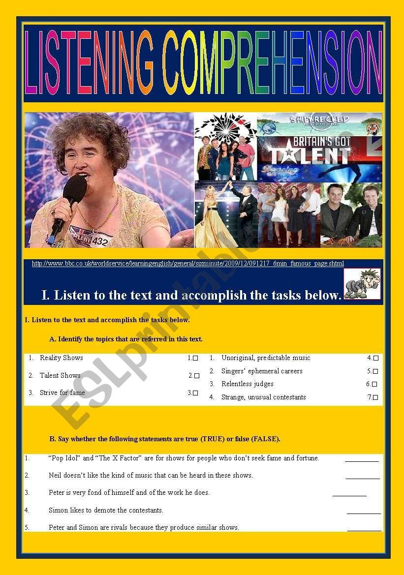 QUEST for FAME - Talent Sows worksheet