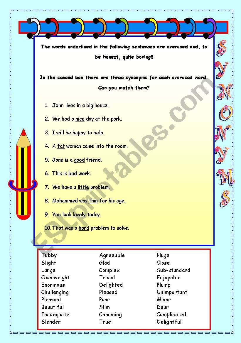 Synonyms - replace those boring words! - ESL worksheet by ...