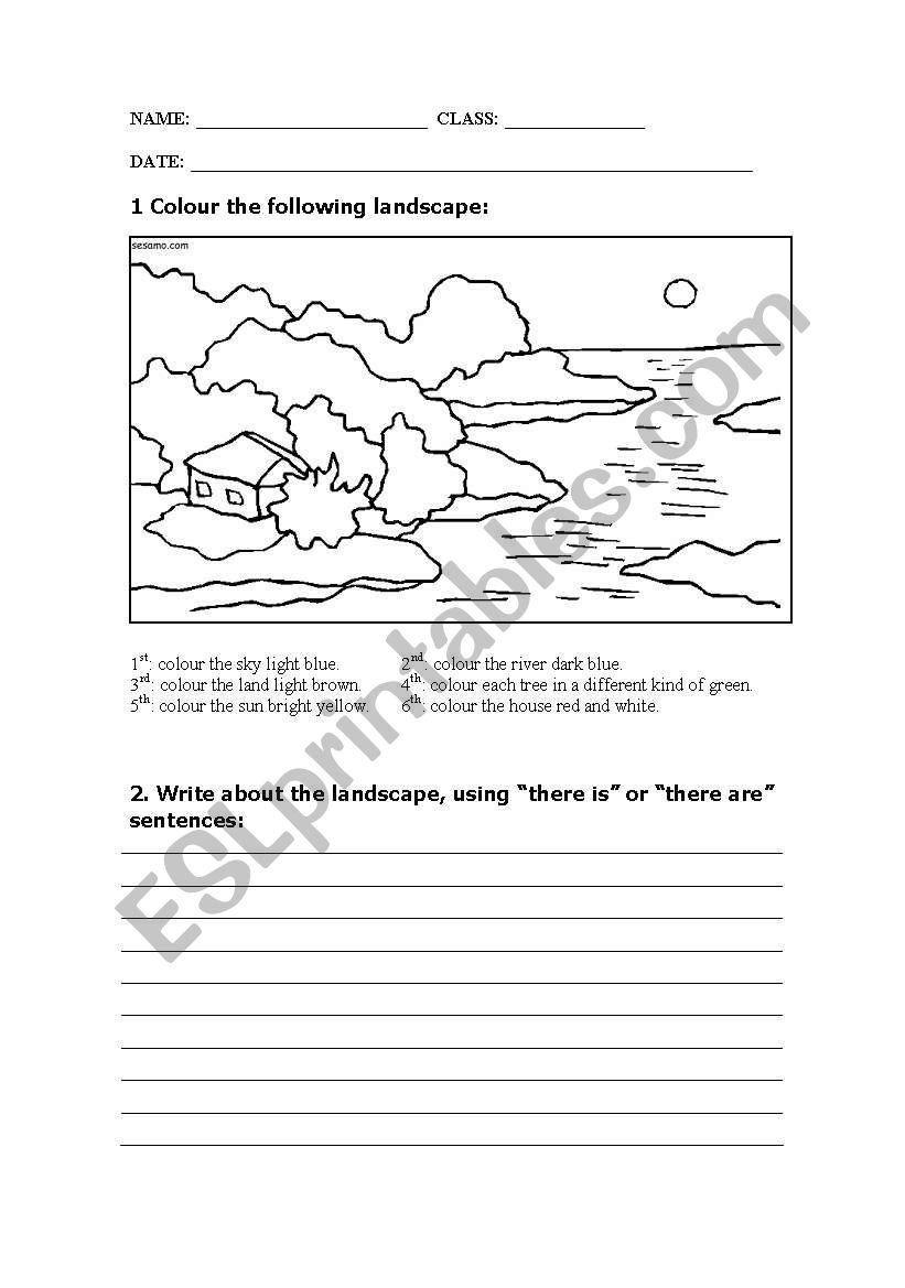 landscape description esl worksheet by virginia2104. Black Bedroom Furniture Sets. Home Design Ideas