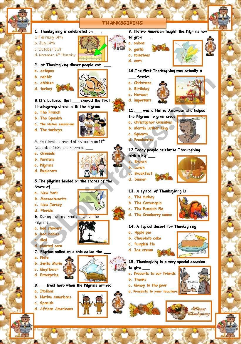 Thanksgiving Quiz!  worksheet