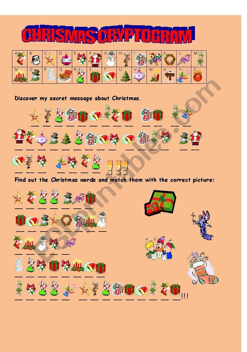 CHRISMAS CRYPTOGRAM worksheet