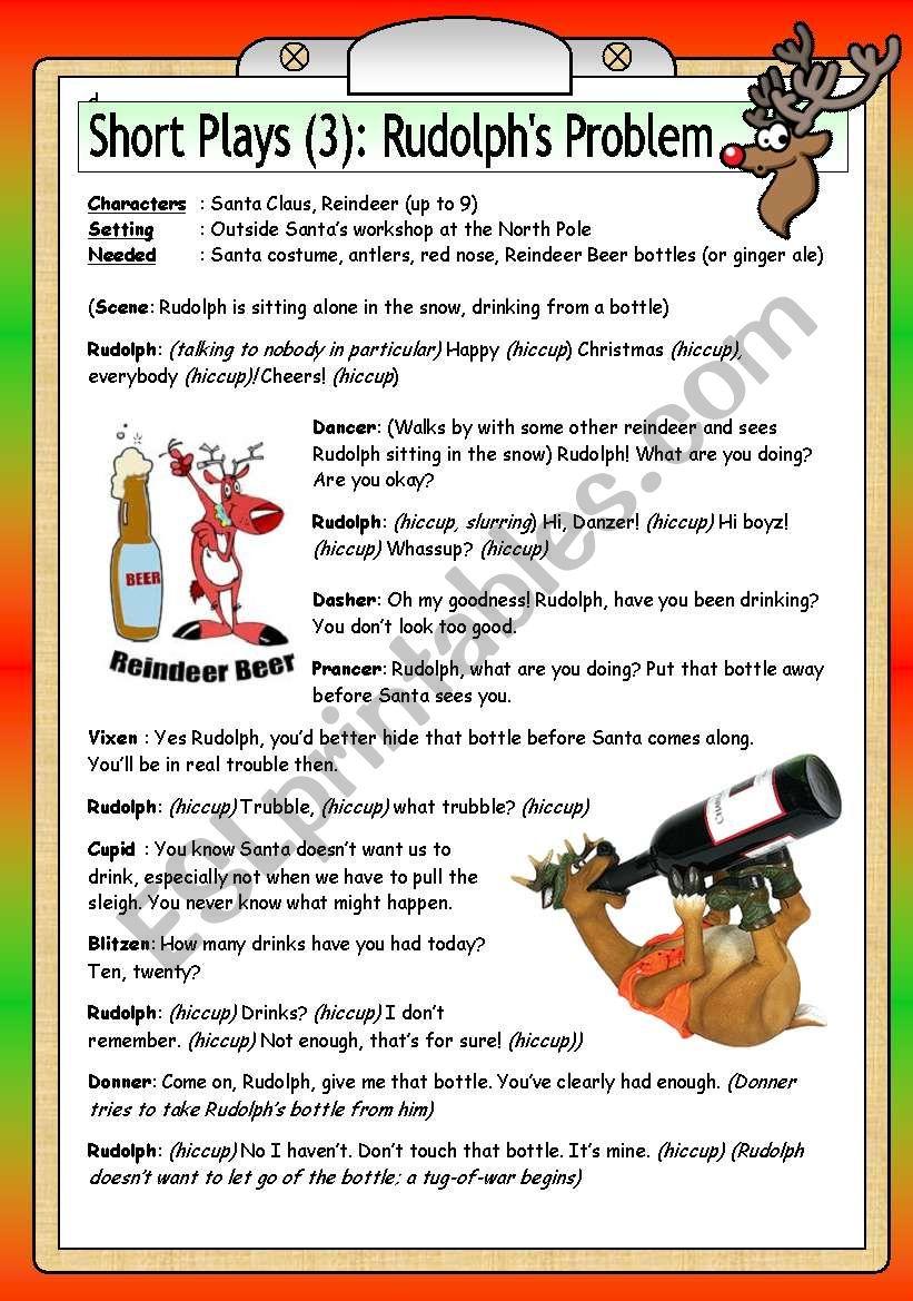 Short Christmas Play.Short Plays 3 Rudolph S Problem Esl Worksheet By Philipr