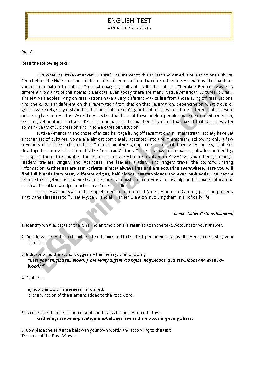 English Assessement Test -Advanced Students - ESL worksheet
