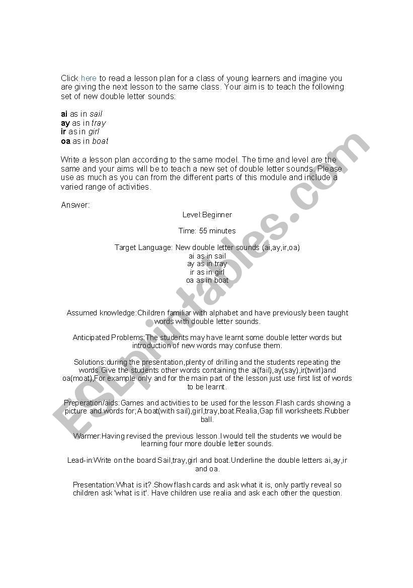 English Worksheets Double Letter Sounds Lesson Plan