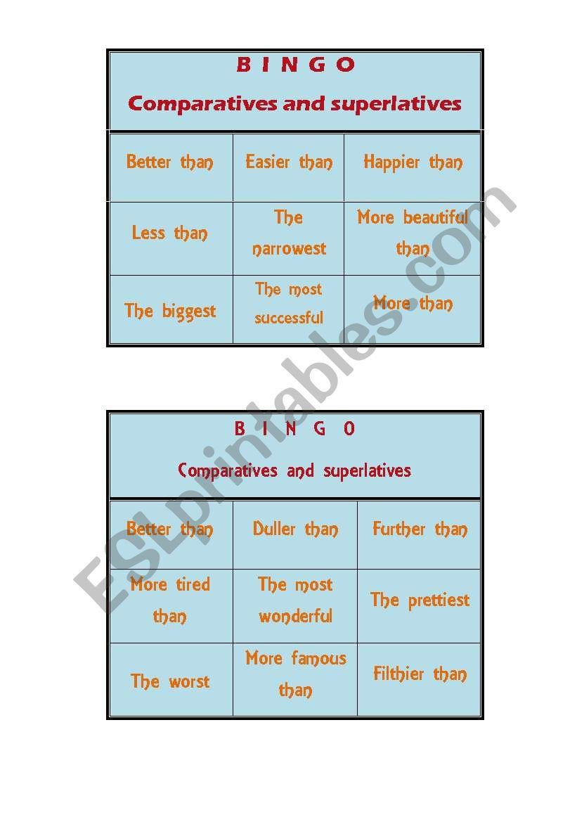 Comparative and superlative - ESL worksheet by nandaagon
