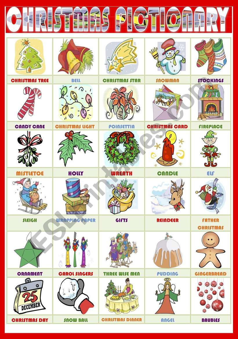 Christmas Pictionary Esl Worksheet By Nuria08