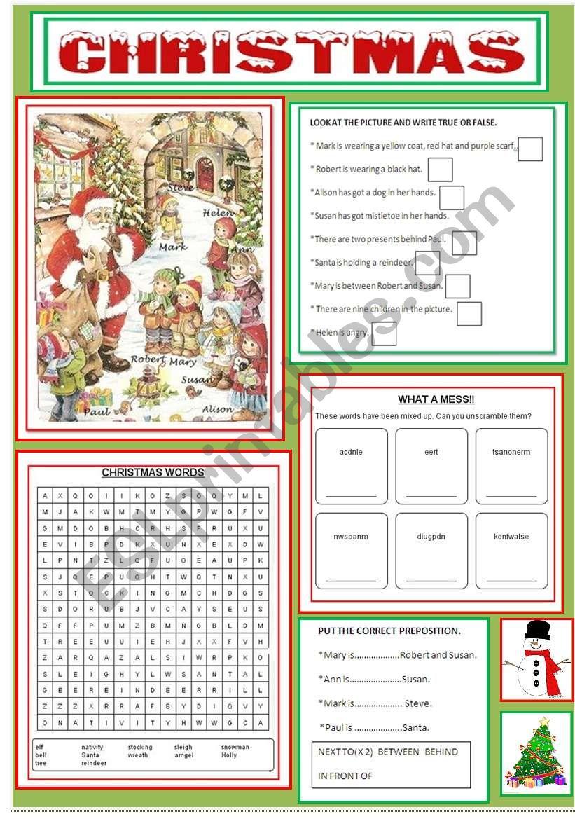 CHRISTMAS ACTIVITIES worksheet