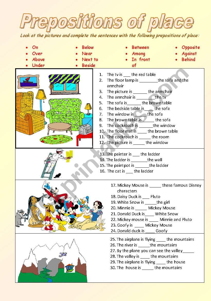 English Worksheets Prepositions Of Place On Under Among