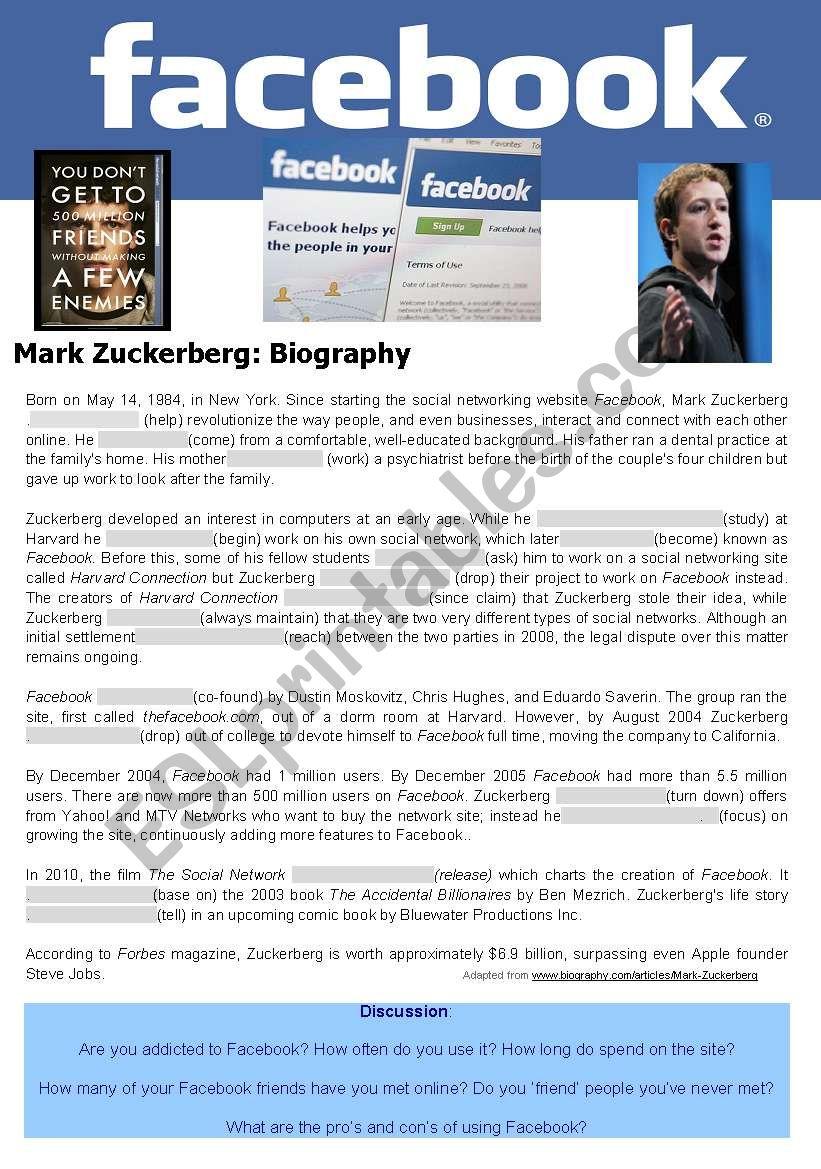 Tense review biography of  Mark Zuckerberg
