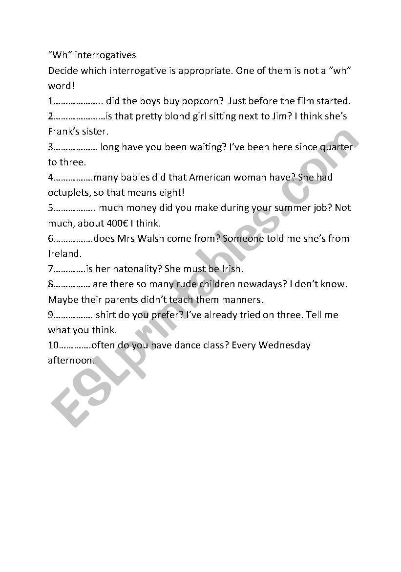 Using interrogatives worksheet