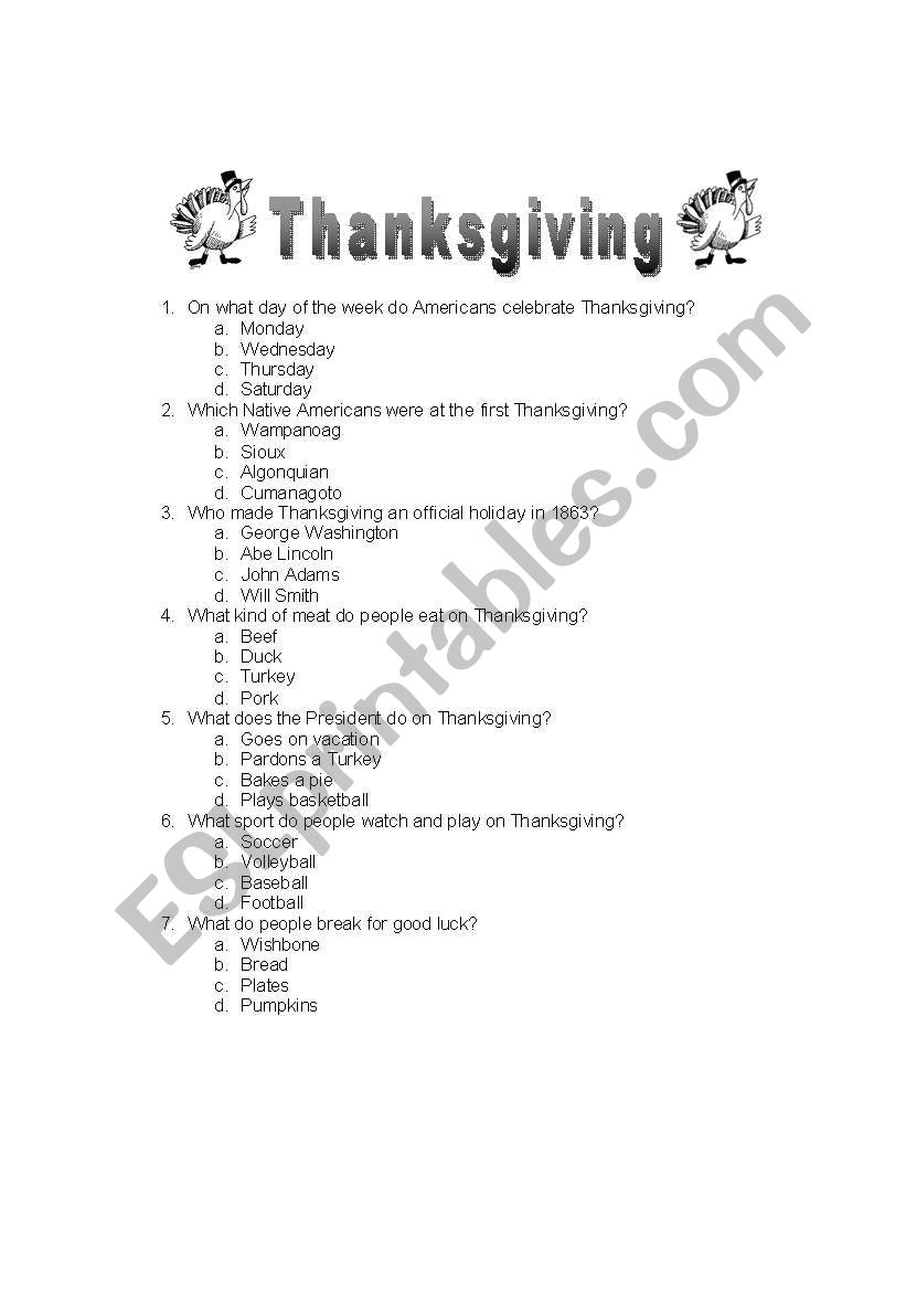 graphic relating to Thanksgiving Quiz Printable identified as English worksheets: thanksgiving quiz
