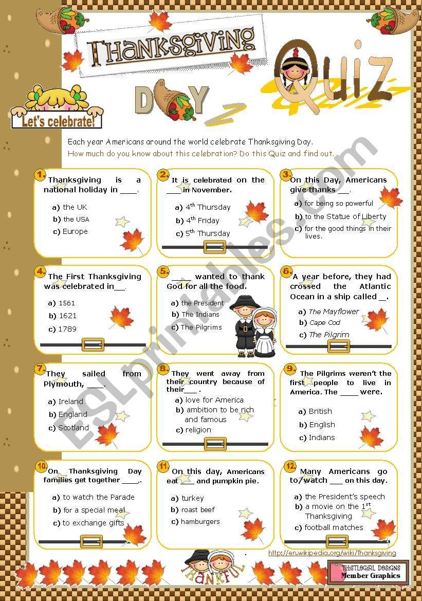 graphic relating to Thanksgiving Quiz Printable identify Thanksgiving QUIZ - ESL worksheet as a result of mena22