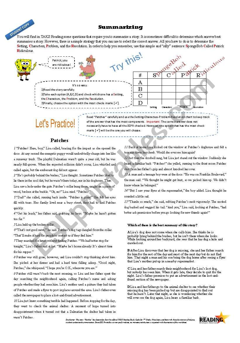 Worksheets Summarizing Worksheets summarizing with spongebob esl worksheet by hreina worksheet