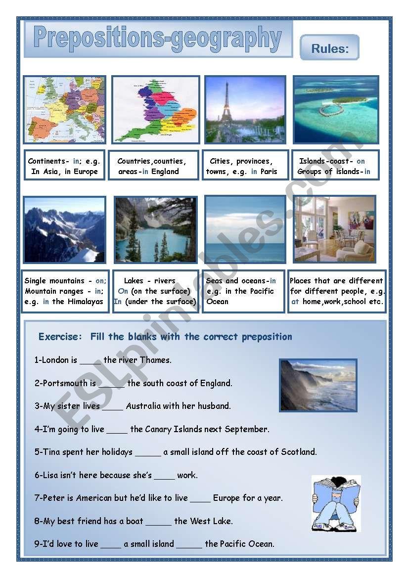 Prepositionns-geography worksheet