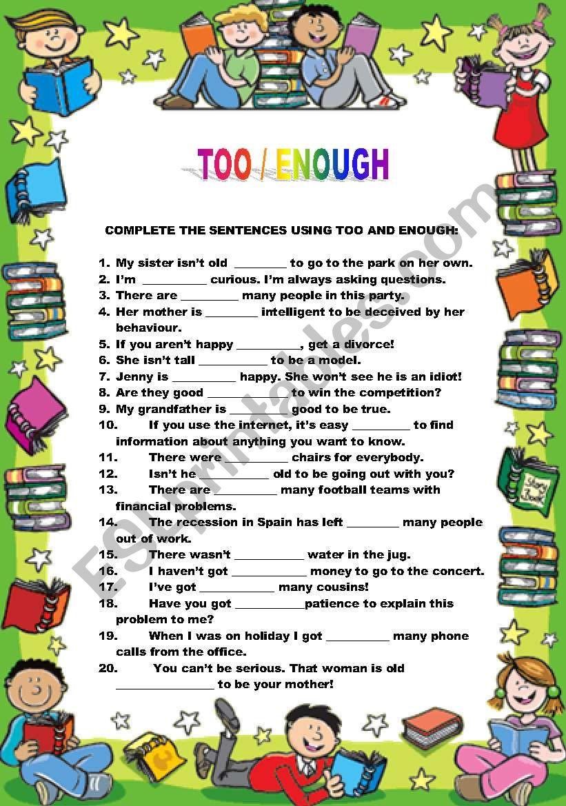 Too / Enough worksheet