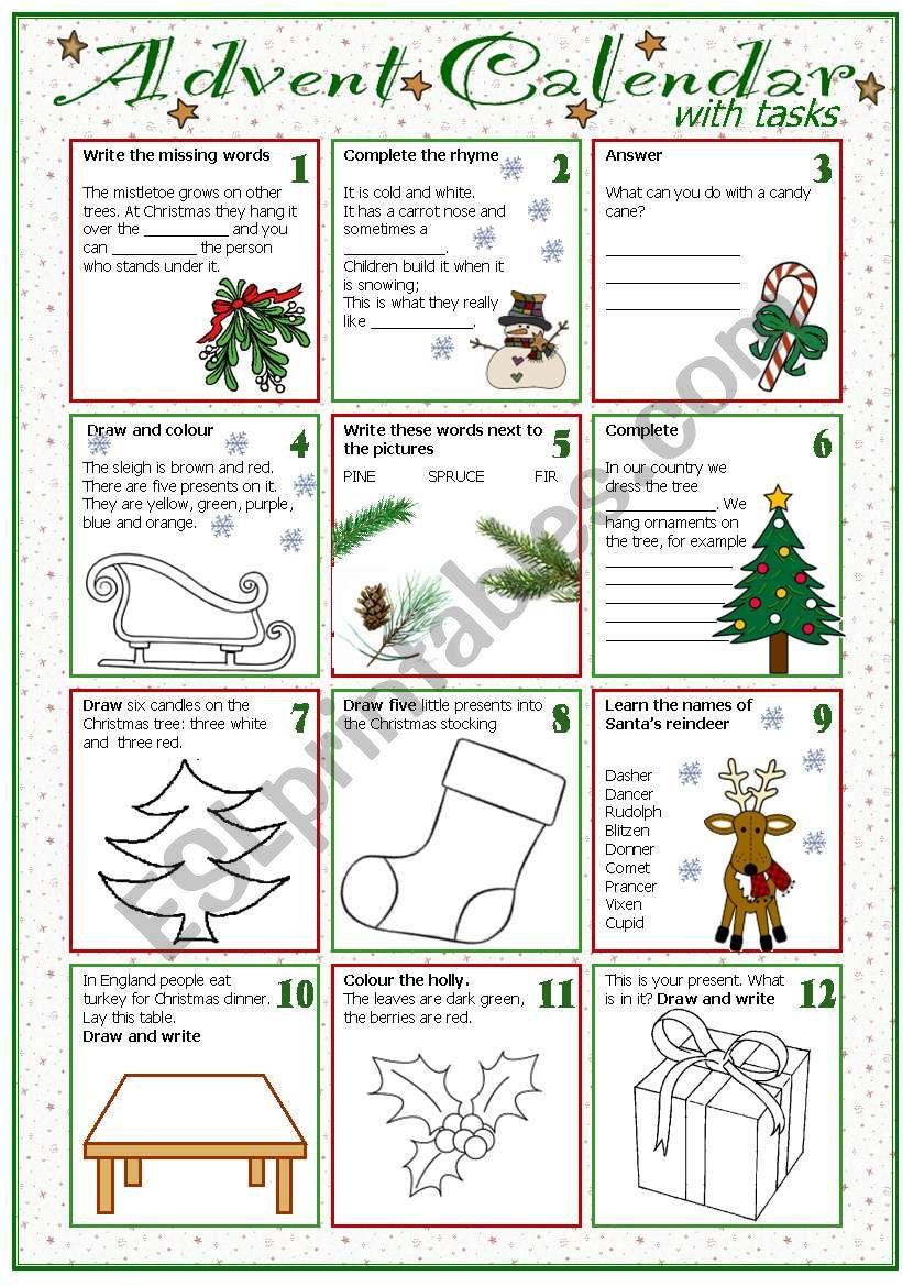 Calendar Activities Esl : Advent calendar with tasks esl worksheet by tecus