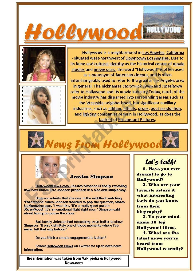 Hollywood worksheet