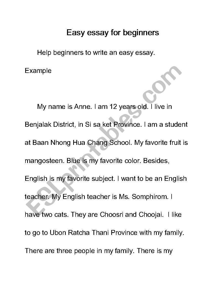 English worksheets easy essay