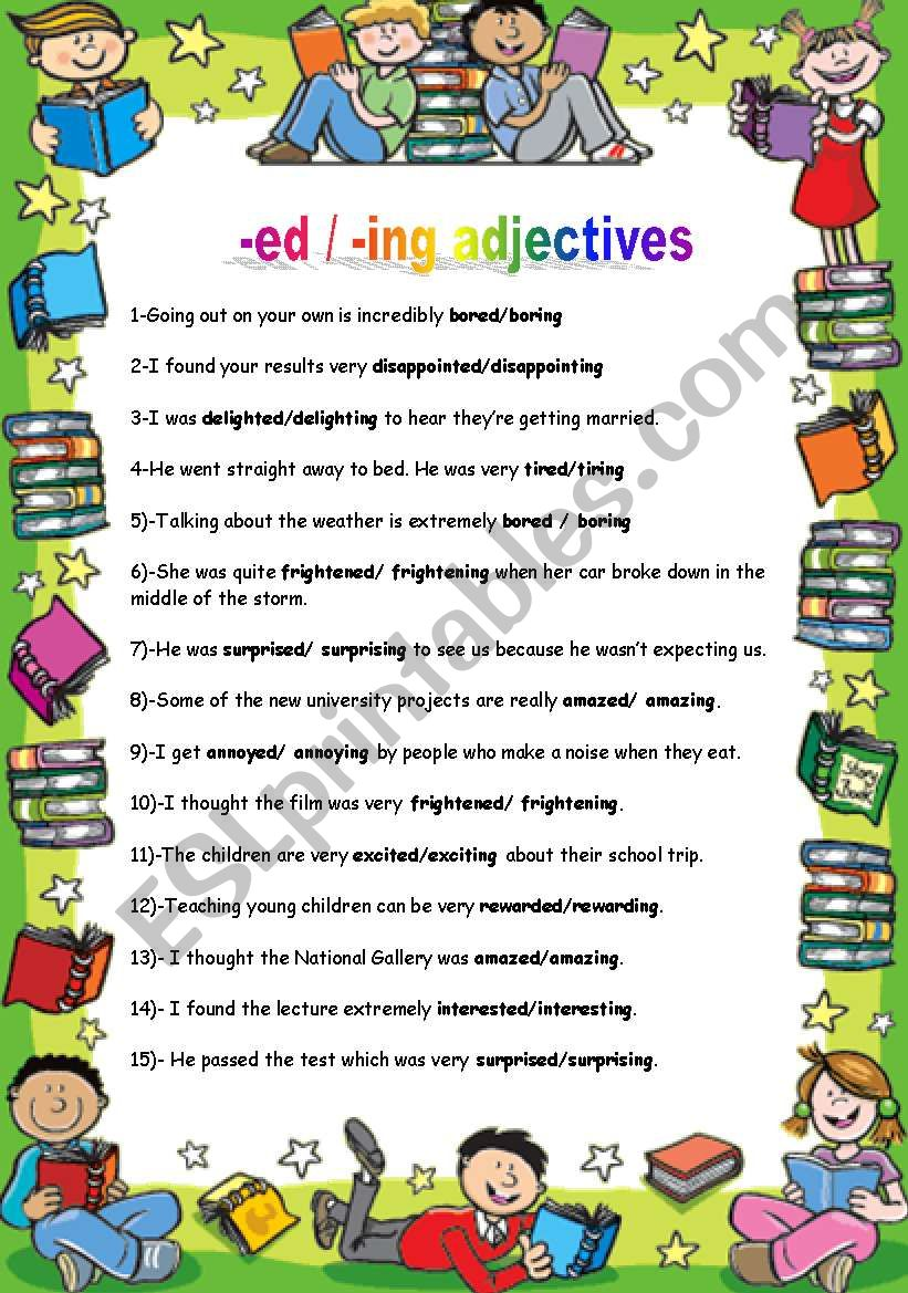 -ed /-ing adjectives worksheet