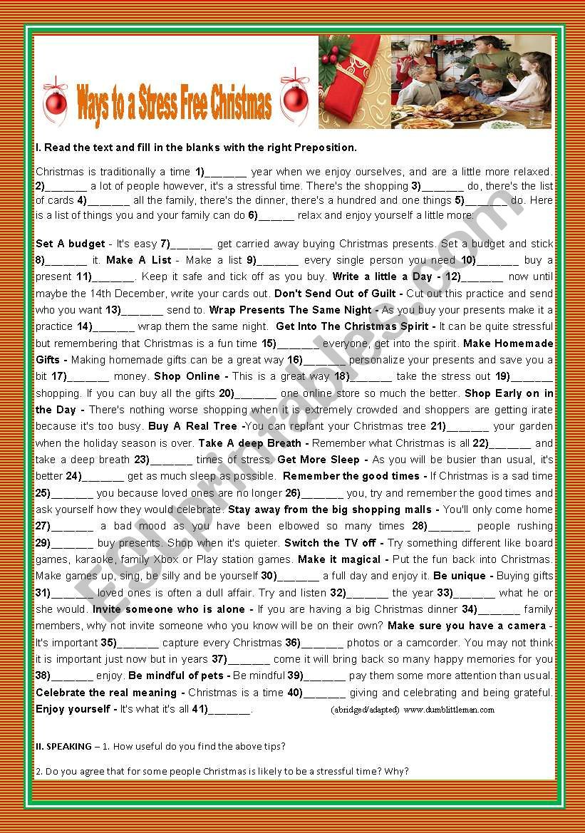 ways to a stress free christmas esl worksheet by teresapr. Black Bedroom Furniture Sets. Home Design Ideas