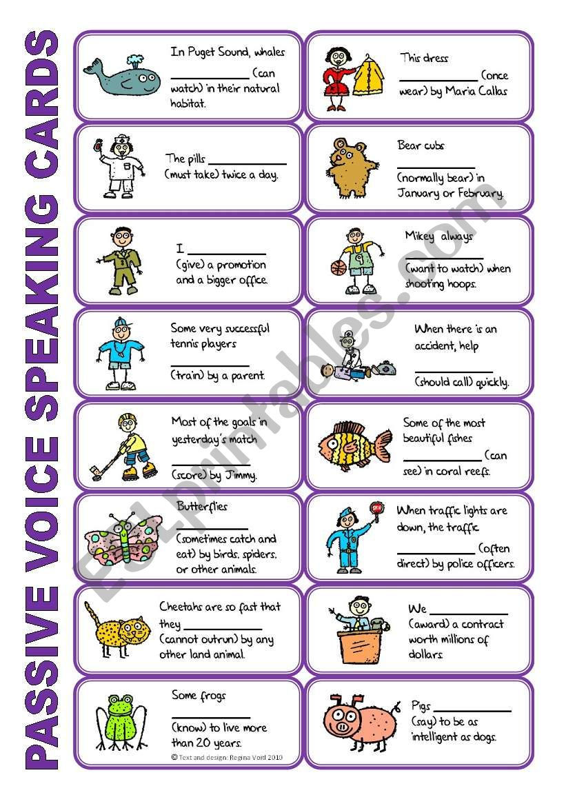 SET 6: Passive voice / tenses / adverbs of frequency / irregular verbs / modals - worksheet OR speaking activity (purple series) + KEY for ws 1-6