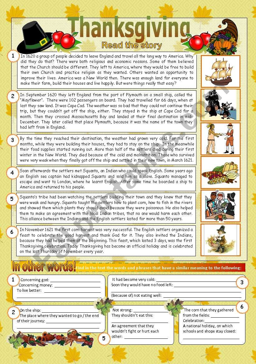 The story of Thanksgiving (2pages)