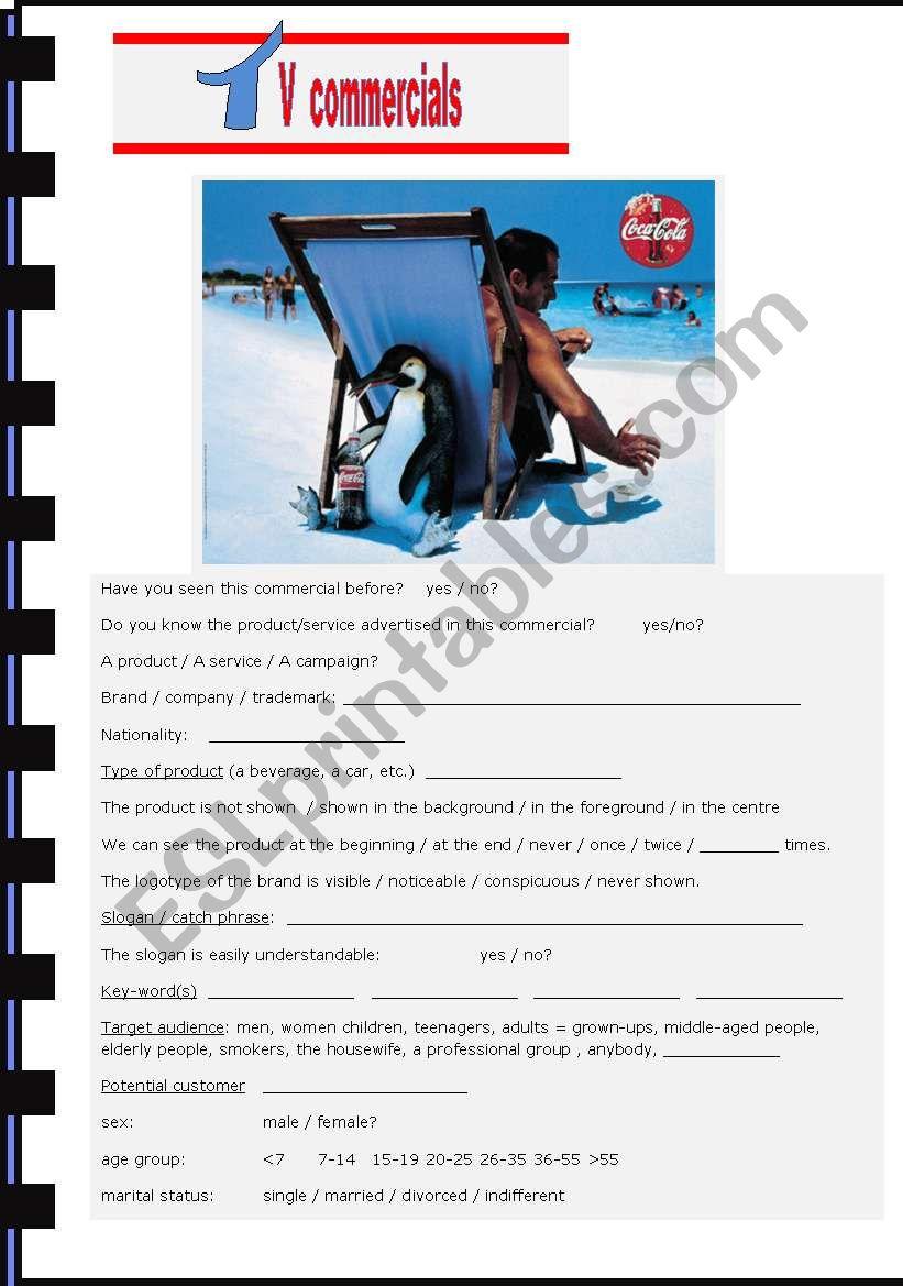 TV COMMERCIALS worksheet