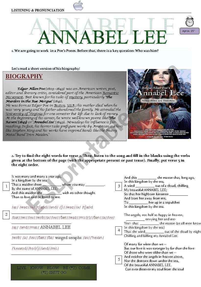 Poe´s Poem Annabel Lee - ESL worksheet by rocivi3
