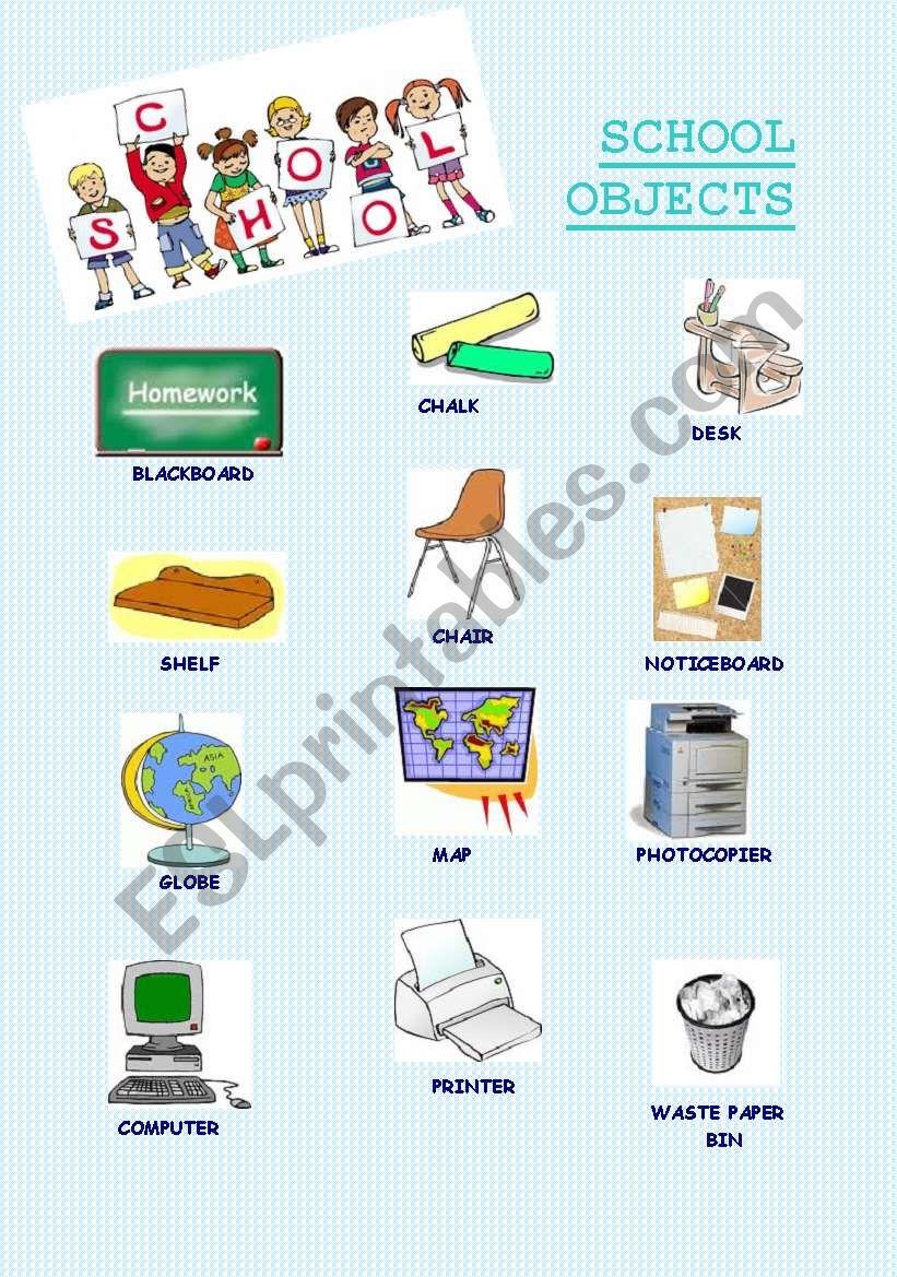 School objects 1 worksheet