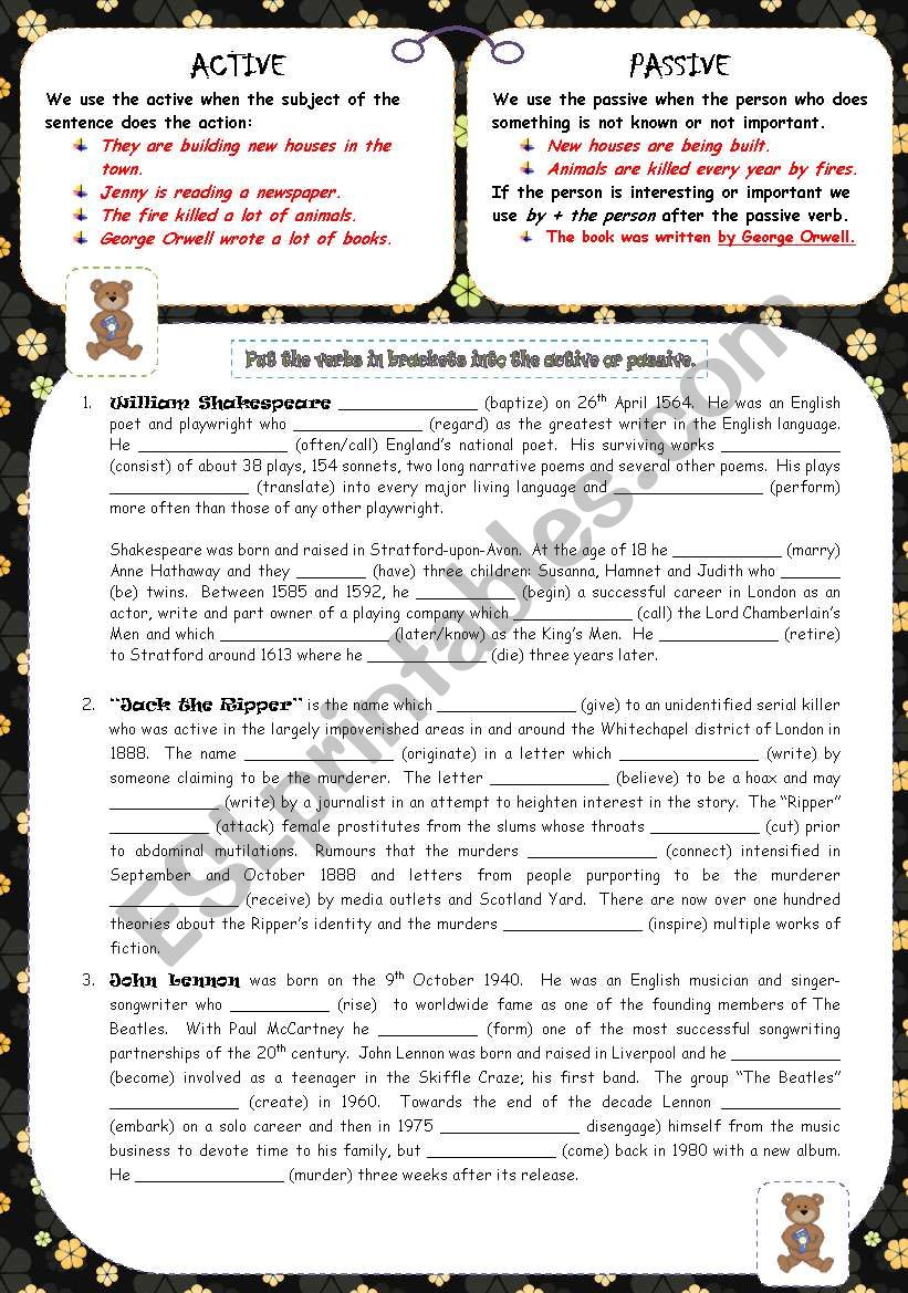 ACTIVE or PASSIVE worksheet