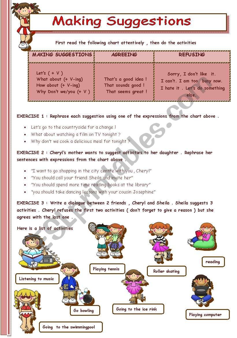 MAKING SUGGESTIONS worksheet