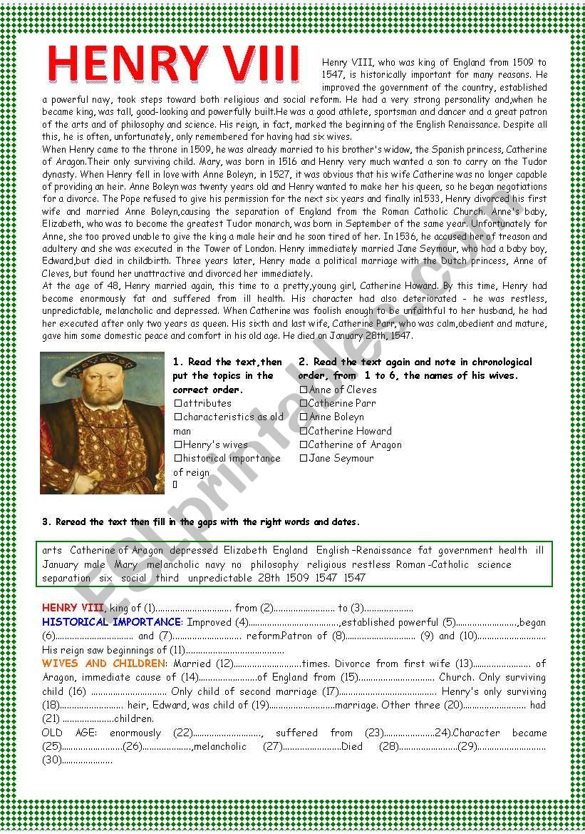 HENRY VIII worksheet