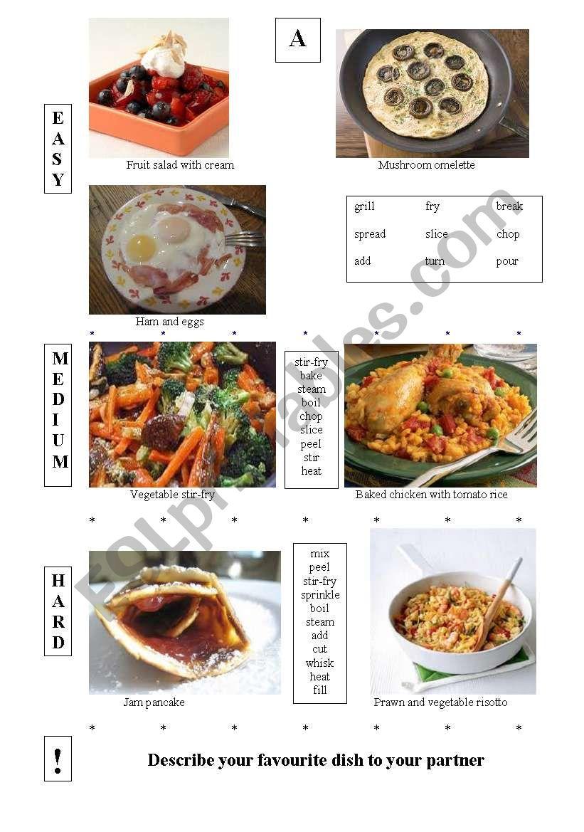Advanced speaking - describing food preparation