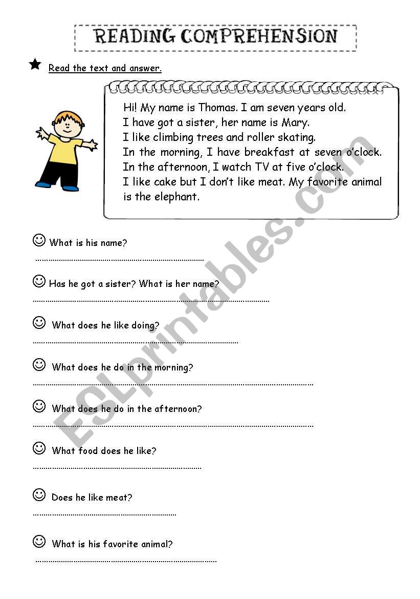 - Reading Comprehension: Answer Questions - ESL Worksheet By Biankisth