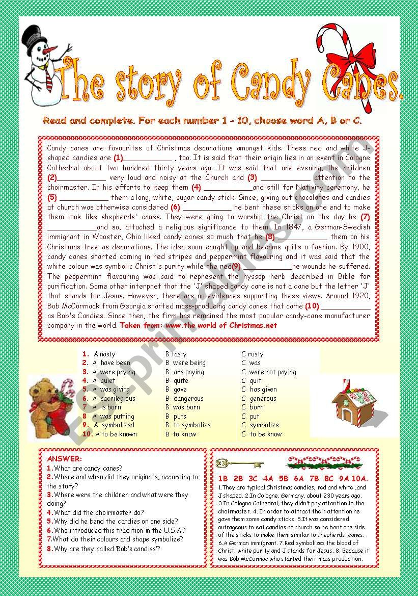 THE STORY OF CANDY CANES. worksheet