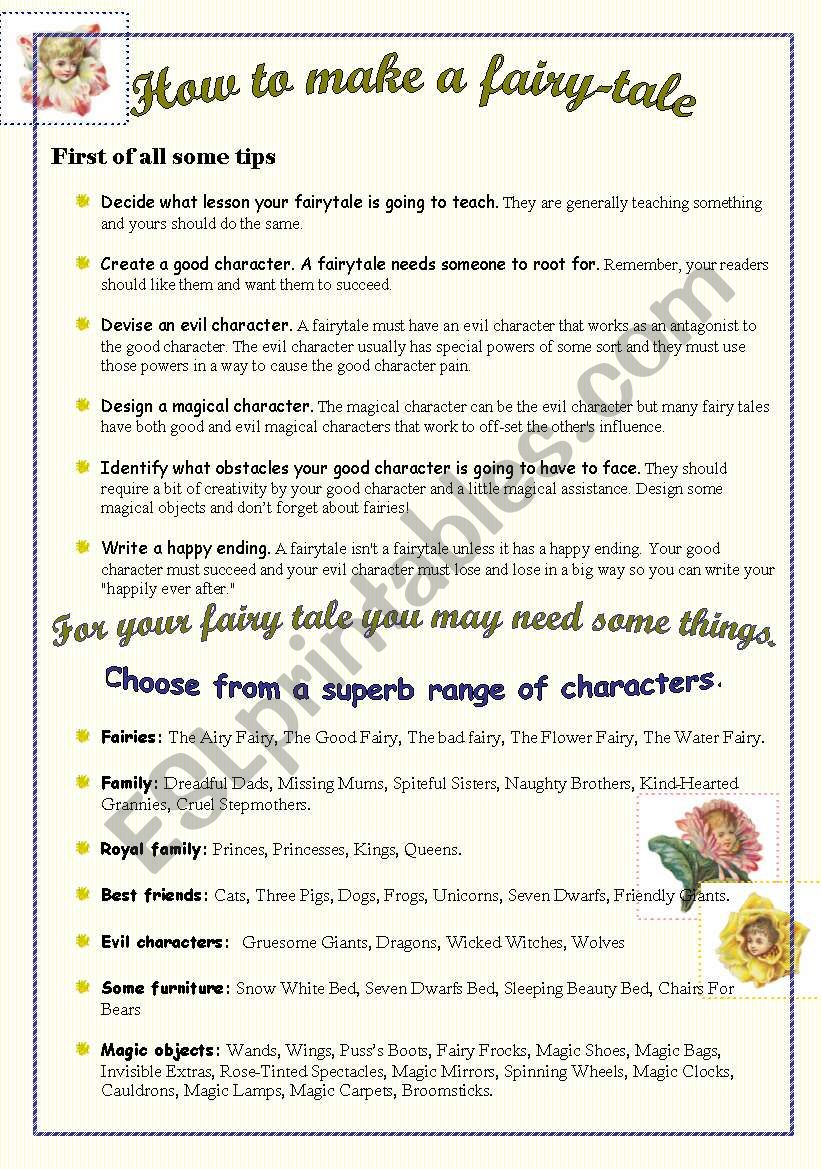 How to make a fairy-tale worksheet