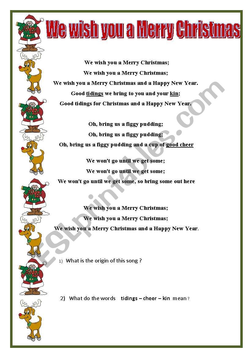 We Wish You A Merry Christmas Song.We Wish You A Merry Christmas Esl Worksheet By Swissprof
