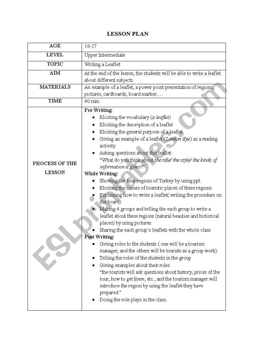 Lesson Plan (Writing a leaflet)