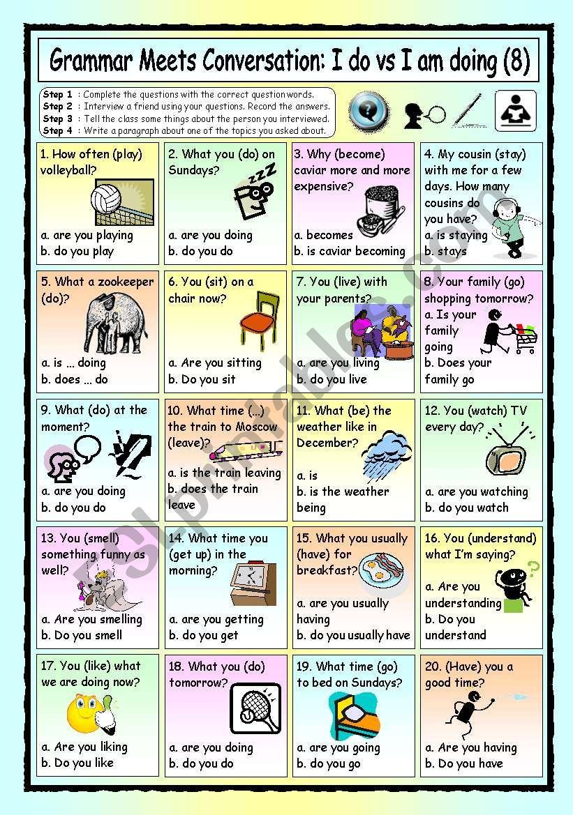 Grammar Meets Conversation: I do vs I´m doing (8) - Asking for Information
