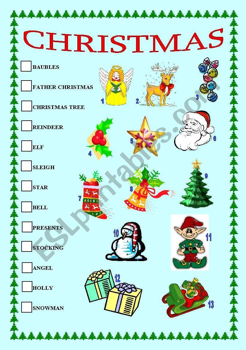 Christmas matching exercise - ESL worksheet by B.Silva