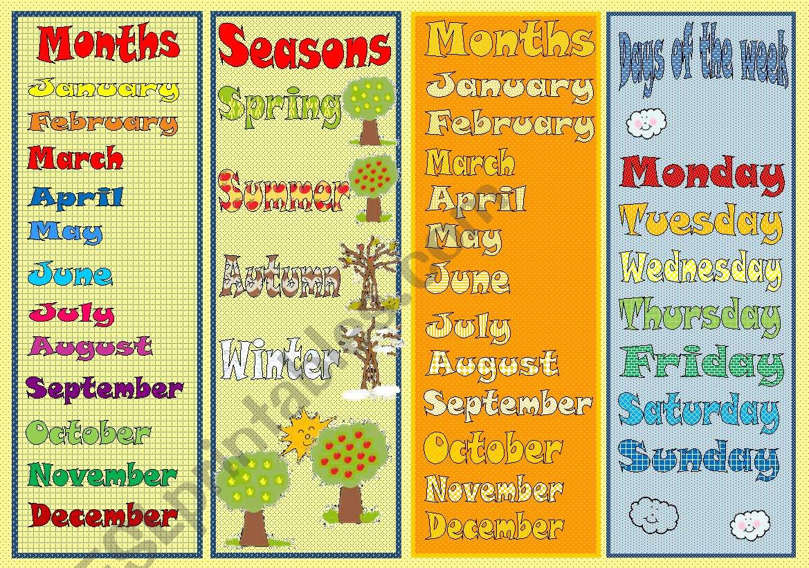 bookmarks days of the week months seasons exercises esl worksheet by mada 1. Black Bedroom Furniture Sets. Home Design Ideas