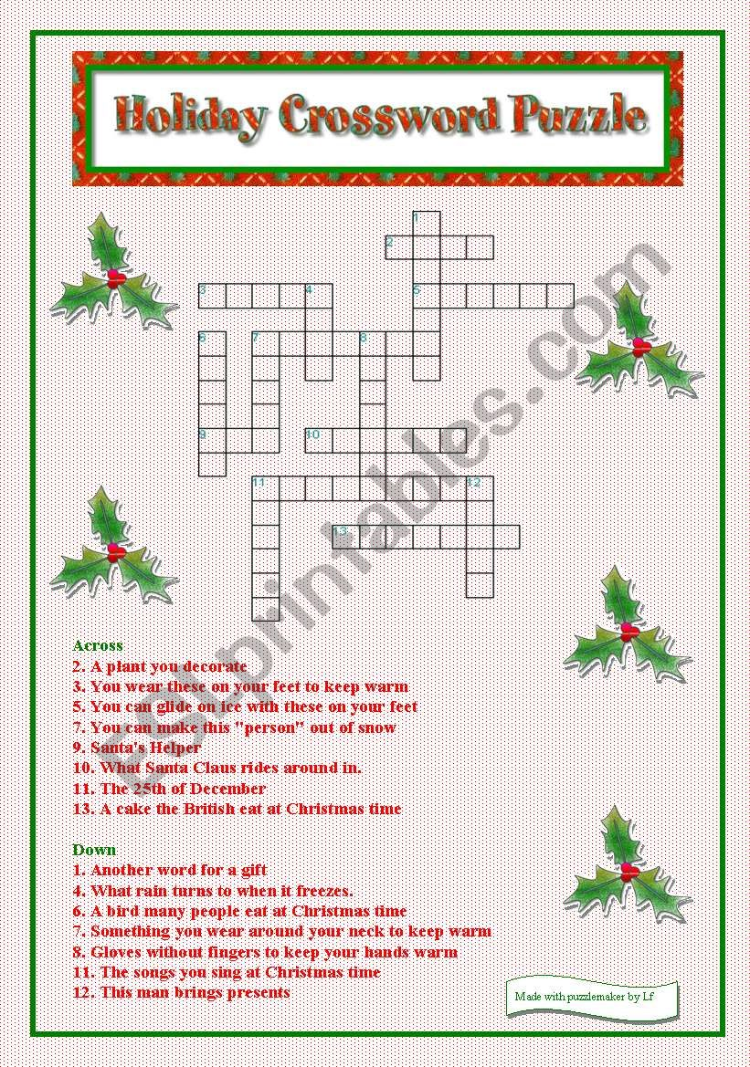 Holiday Crossword Puzzle Esl Worksheet By Libertybelle