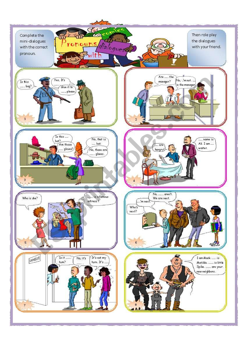 Mini-dialogues with pronouns worksheet
