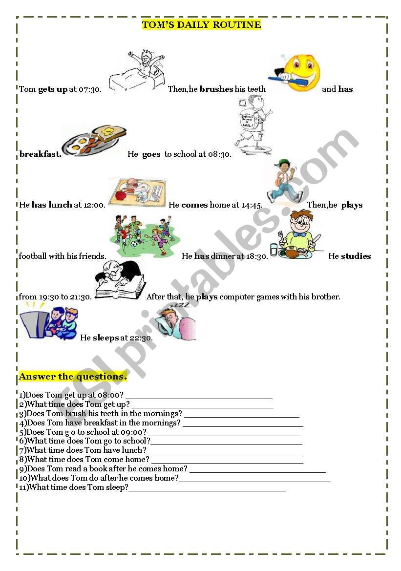 Tom´s Daily Routine worksheet