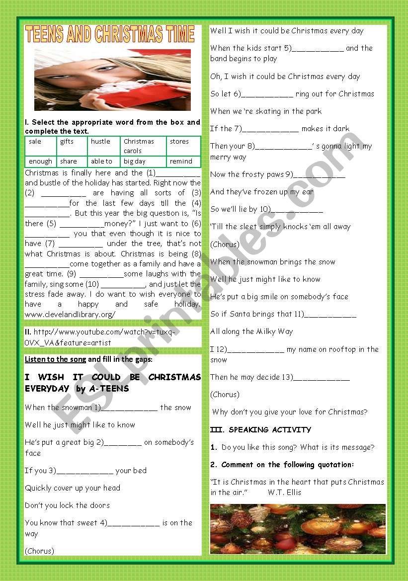 TEENS AND CHRISTMAS TIME - ESL worksheet by teresapr
