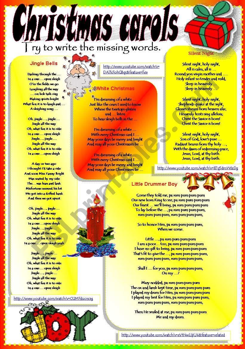 CHRISTMAS CAROLS worksheet