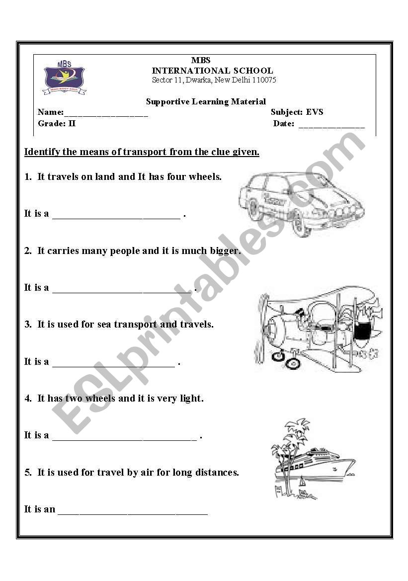 english worksheets means of transport. Black Bedroom Furniture Sets. Home Design Ideas