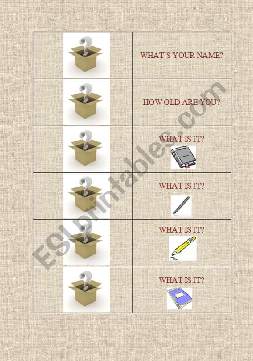Game Cards worksheet