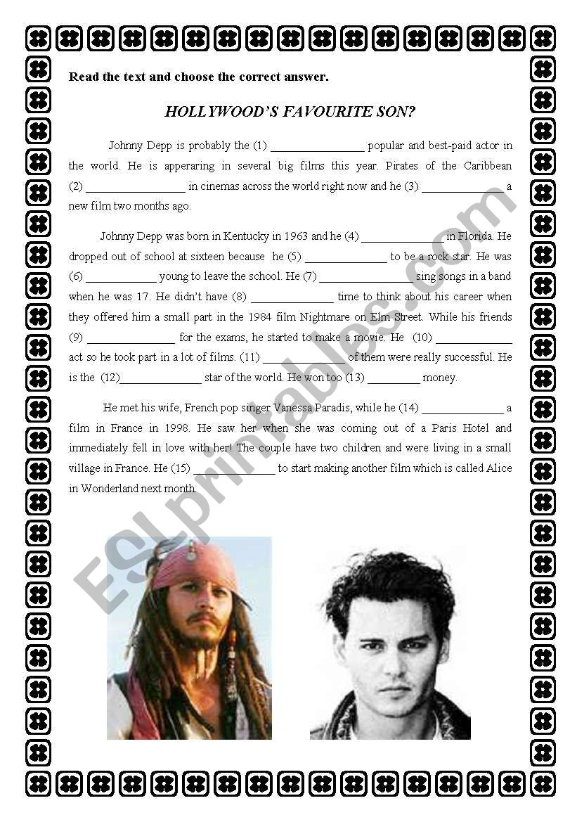 Hollywood´s favourite son? worksheet
