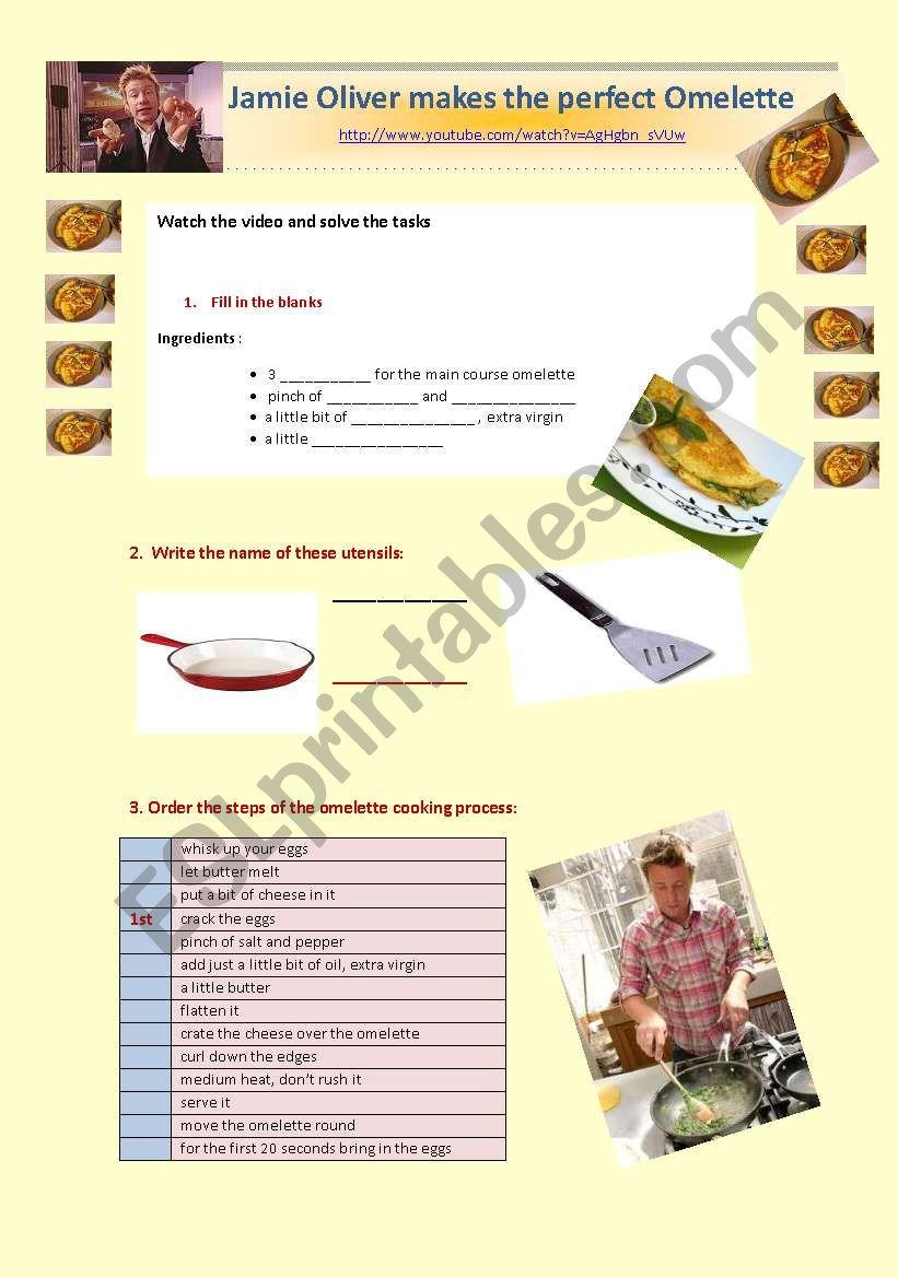 Jamie Olivers Perfect Omelette With Key Esl Worksheet
